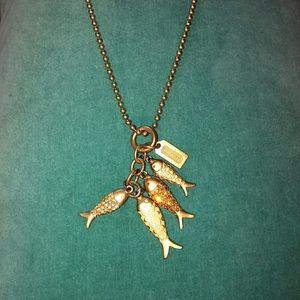 Vintage COACH long jeweled fish string pendant